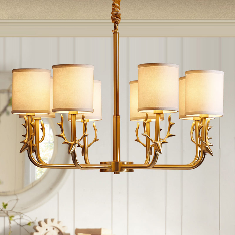nordic America copper deer head pendant light villa living room restaurant hanging lamp lights villa america
