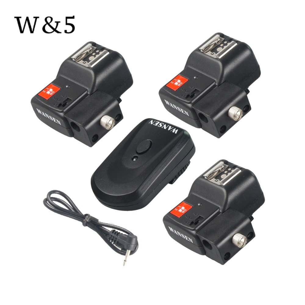 Wansen PT-04NE 4 Channels Wireless Remote Speedlite Flash Trigger + Umbrella Holder +3 Receivers for Canon Nikon Pentax Olympus wansen pt 04gy universal 1 to 3 3 receivers wireless flash trigger for nikon canon black