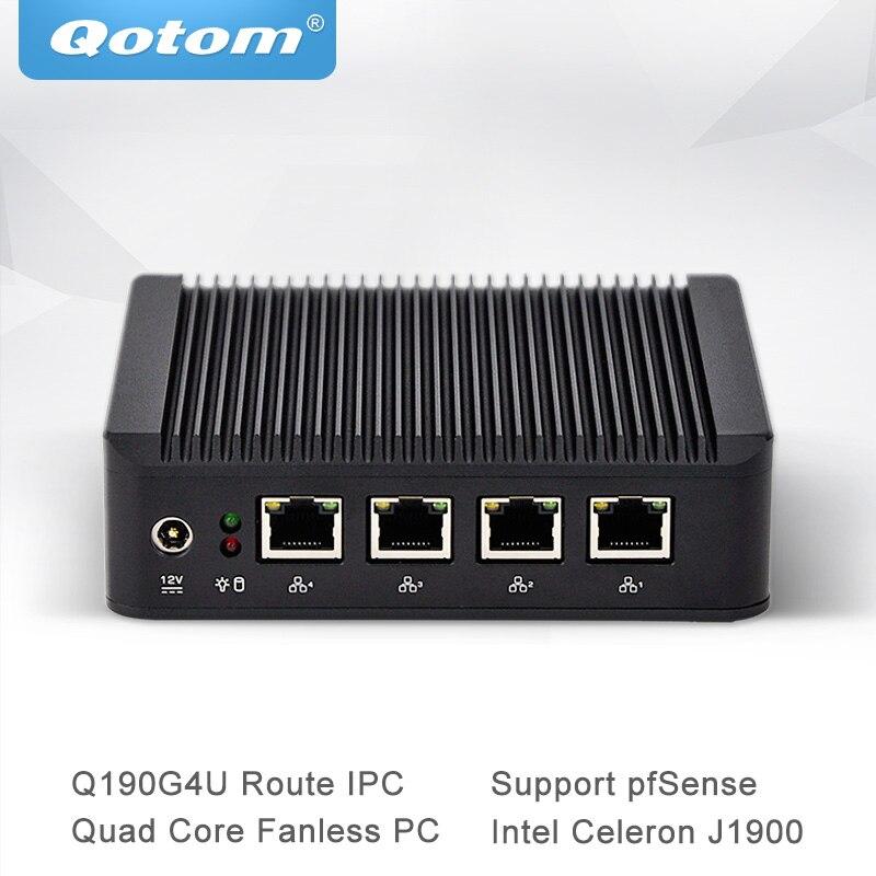 Qotom Mini PC J1900 Processeur avec Quad Core Nano ITX 4 Gigabit NIC Soutien Pfsense Comme Routeur Pare-Feu Sans Ventilateur Ordinateur Q190G4U