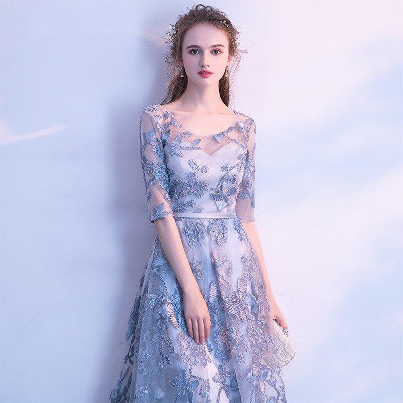 Robe de soirée élégante gris imprimé Floral broderie robes de bal formelles o-cou demi manches a-ligne longueur de plancher robes de soirée E039