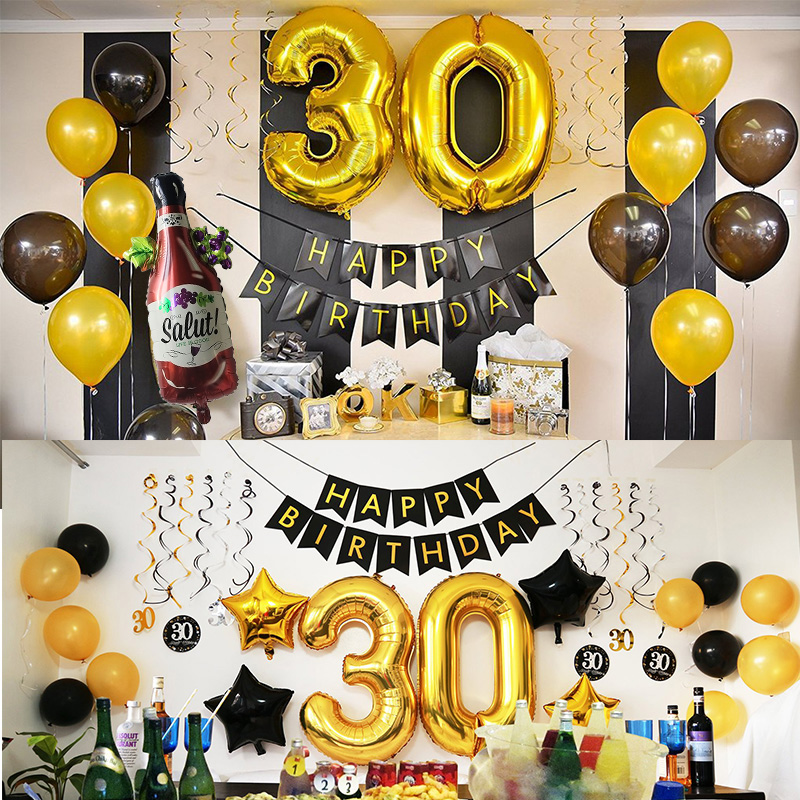 50 Birthday Party Decorations Adult 30 40 50 60 Years Decor Happy Birthday Banner Number Balloon Globos 50 Wedding Anniversary