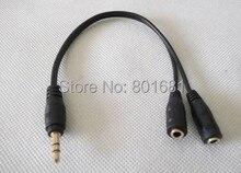 Бесплатная доставка Высокое качество 50 шт./лот 3.5 мм штекер 2 х 3.5 мм Женский Джек аудио сплиттер наушники Кабель-адаптер