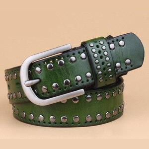 Image 5 - עור אמיתי מסמרת חגורות מעצב באיכות גבוהה נשים חגורות מותג חגורת המותניים נשים מקרית פין אבזם חגורות נשי רצועה