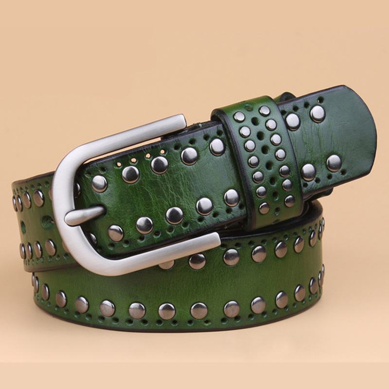 Image 5 - genuine leather rivet belts high quality designer women belts brand waist belt for women casual pin buckle female belts Strap-in Men's Belts from Apparel Accessories