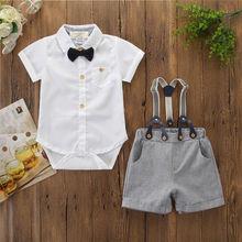 Комплект из 2 предметов для маленьких мальчиков; топики для мальчиков с короткими рукавами; блузка+ шорты-комбинезон; Торжественная одежда
