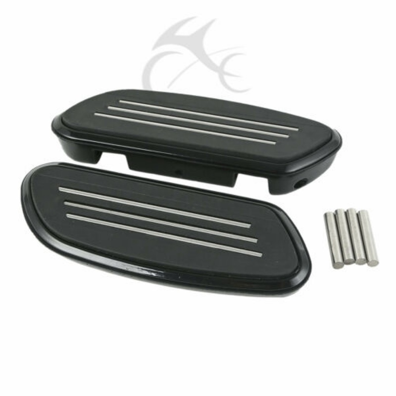 Motorcycle Black Chrome Streamline Floorboards Footboard For Harley Touring Electra Street Road Glide FLT FLHT FLHX 93 18 in Foot Rests from Automobiles Motorcycles