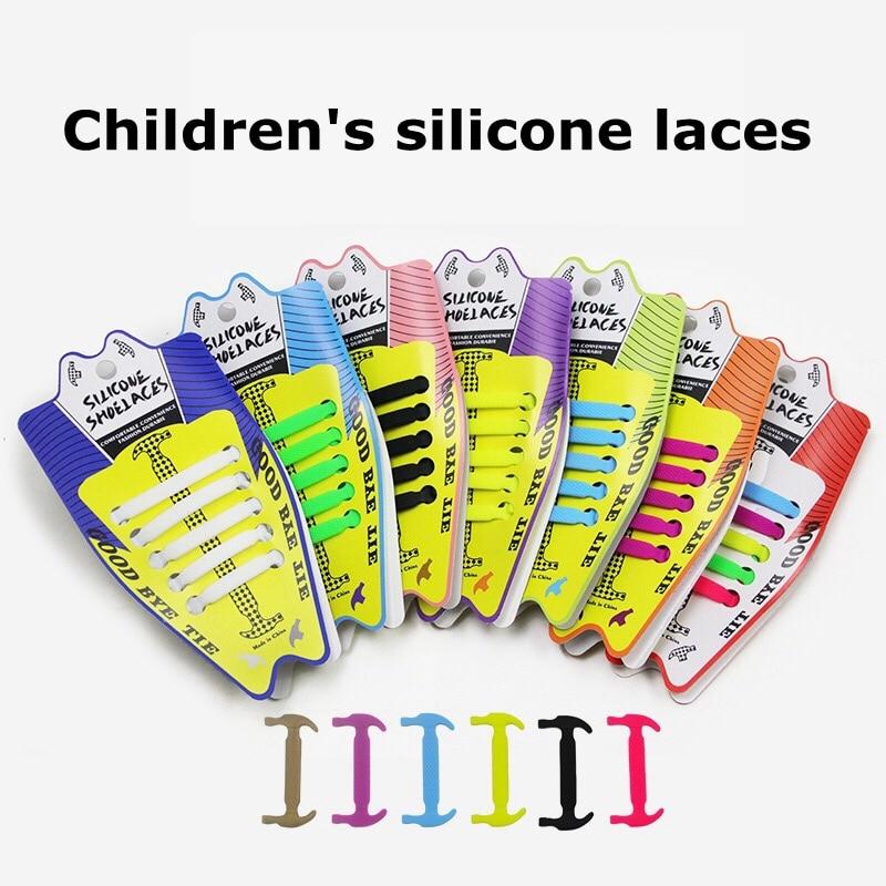 10pcs/lot New Children Elastic Silicone Shoelaces No Tie Shoe Laces Children's Lacing  Silica Gel Shoelace Convenient Lazy Laces
