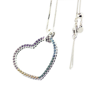 Multi Colored Heart Necklace & Pendant 925 Sterling Silver Jewelry Necklace For Female Fashion Jewelry Elegant Necklac