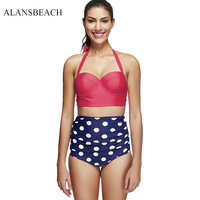 ALANSBEACH 2pcs Bikini Sets High Waist Bathing Suits Dot Print Sexy Women Swimwear Top Quality AB00095