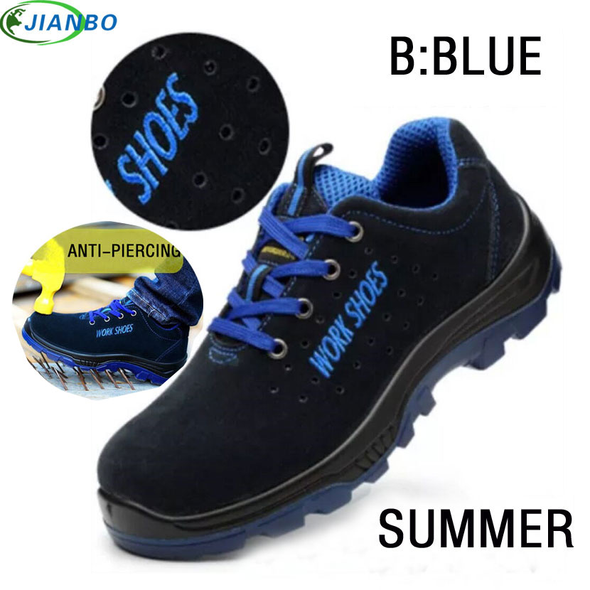 Men's Breathable Steel Toe Safety Shoes With Puncture Proof Midsole Slip Resistance Breathable Sneakers Work Boot Running Shoes