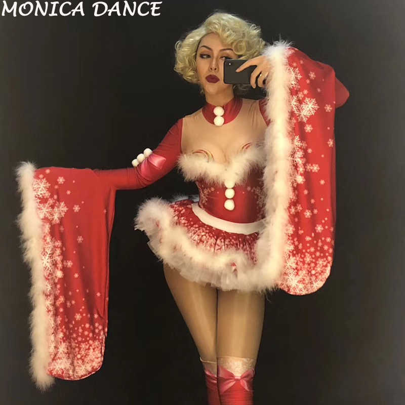 Christmas Women Sexy Red Short White Fluff Skirt   Coat Nightclub Party Stage  Wear Bodysuit Dancer 09a3e4753a0c