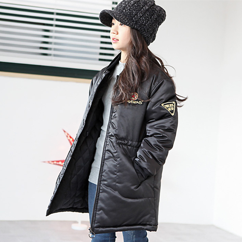 Korean Limited Casual Polyester Denim Full Long V-neck Winter Coat Girls Installed 2017 New Children In Cold Waist Zipper 2017 korean version of the thickening of female workers in the long coat lambskin coat winter coat large size coat