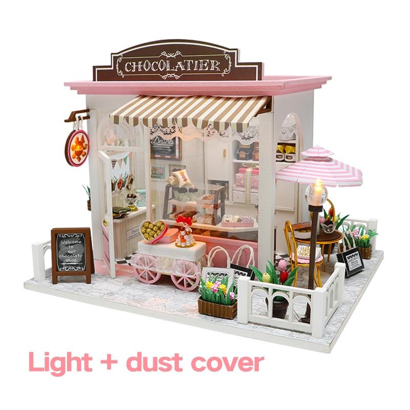 Diy casa de boneca em miniatura doce chocolate tempo de espera loja de bonecas com móveis woodentoys para crianças presentes aniversário