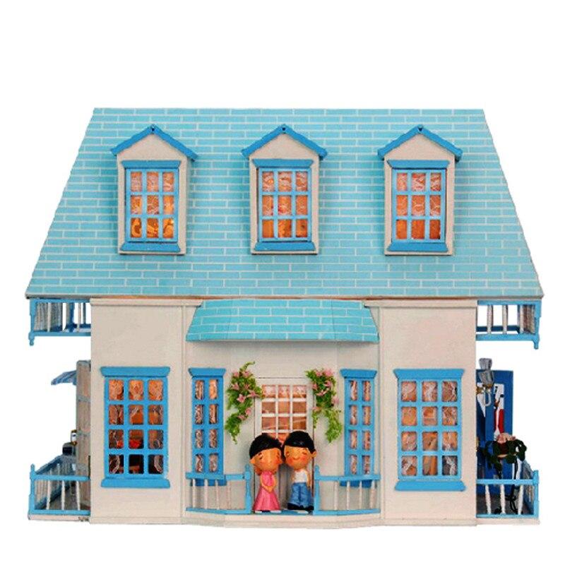 Puppenhaus Miniatur DIY Puppenhaus Mit Möbel Holz Haus Spielzeug Für Kinder für Kinder-in Puppenhäuser aus Spielzeug und Hobbys bei  Gruppe 1