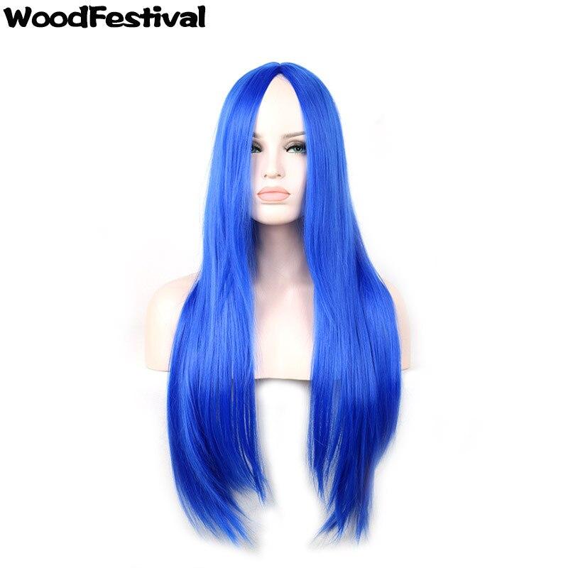 Женщины 75 см парик длинные волосы парики блондинка коричневый красный черный Серебристо-голубой длинный прямой парик синтетические парики...