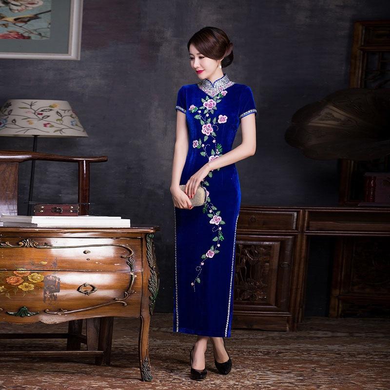 Sametise sinine pikk kaasaegne Qipao tikand kleit Naised Cheongsam Hiina traditsiooniline idamaine õhtukleit Rosa Chinoise Qi Pao