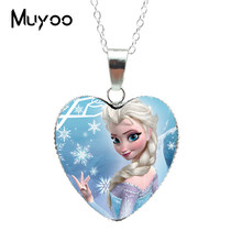 New Fashion Beautiful Princess Silver Heart Jewelry Princess Elsa Snow Queen Heart Pendants Necklace Jewelry Gift for Girl HZ3(China)