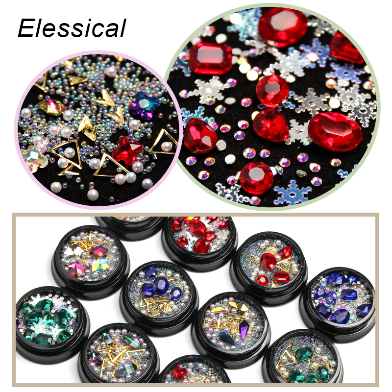 ELESSICAL 1 bottle Crystal Gem Nail Rhinestone Imitation Pearl Mixed Rivets 3D Polishing For Nails Art Decorations WY1184-WY1195 1pc white or green polishing paste wax polishing compounds for high lustre finishing on steels hard metals durale quality