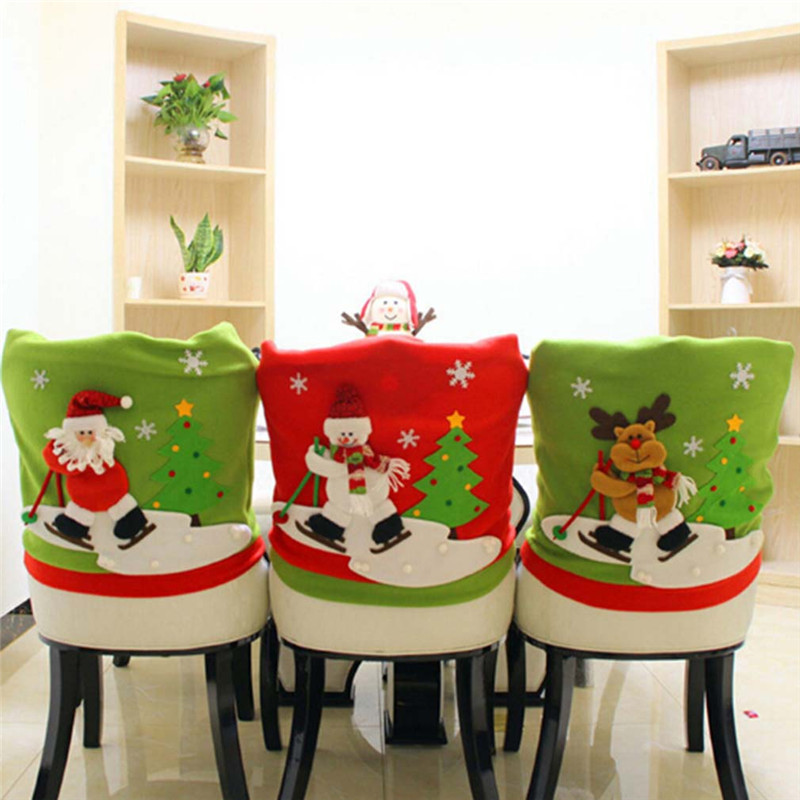 skidding santa claus christmas chair cover set skiing style event xmas party christmas hat for. Black Bedroom Furniture Sets. Home Design Ideas
