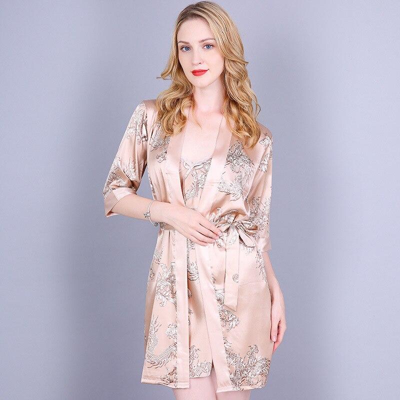 Красный женский Сексуальный Атласный Костюм-двойка, китайский винтажный комплект с принтом дракона, ночная рубашка женское нижнее белье халат из искусственного шелка m-xl - Цвет: Champagne