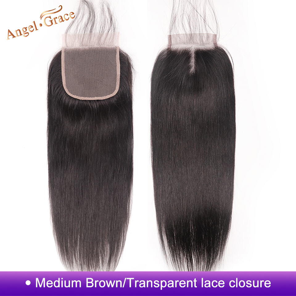 ANGEL GRACE Hair Brazilian Straight Hair Closure 4x4 Middle Part Medium Brown Transparent Lace Closure Remy