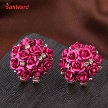 SunWard Pretty Multicolor Bohemia Flower Push-back Rhinestone Stud Earrings Women Summer Style 1 Pair