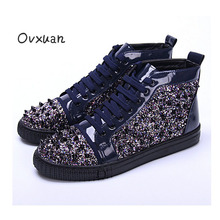 Ovxuan Sequins Male Casual Shoes Solid Rivets Toe Party and Wedding Men Dress Shoes Fashion Street Sneakers Walking Shoes 2017