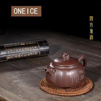 Yixing purply 점토 찻 주전자 중국어 kongfu 차 냄비 원시 광석 보라색 진흙 사중주 용 냄비