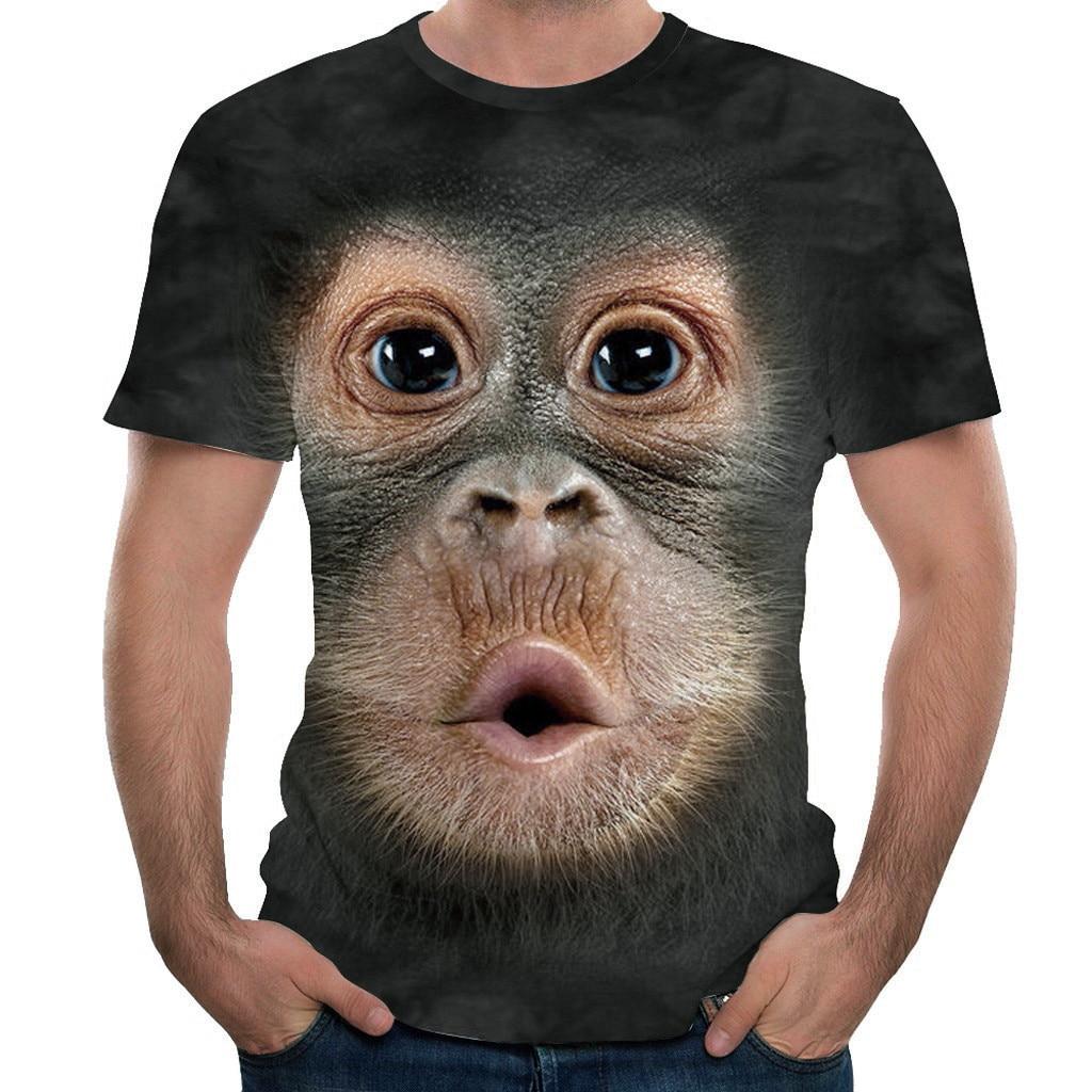 T-Shirt gratuit pour hommes d'autruche printemps et été T-Shirt Animal singe imprimé 3D T-Shirt à manches courtes Design drôle haut décontracté T-Shirts hommes