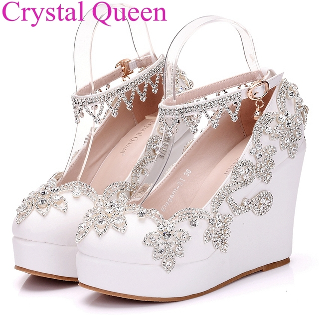 Fashion rhinestone wedges pumps heels wedding shoes for women ...