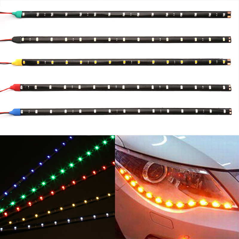30cm Car LED Strip Light High Power 12V 15SMD Car DRL Lamp Waterproof LED Flexible Daytime Running Light Decorative Car-Styling flexible 3w 132lm 6 smd 5050 led white car decorative daytime running light 12v 2 pcs