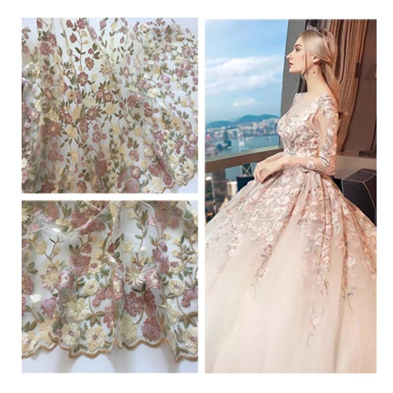 1Yard Mesh Hímzésszövetek Virágos afrikai csipke anyaga Varrni esküvői estélyi ruha ruhát nettó hímzett anyagból