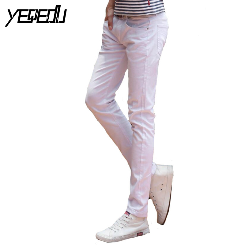#1401 Spring 2017 White jeans men Elasticity Casual jeans hommes Slim fit Skinny jeans men Famous brand Distressed Pencil jeans