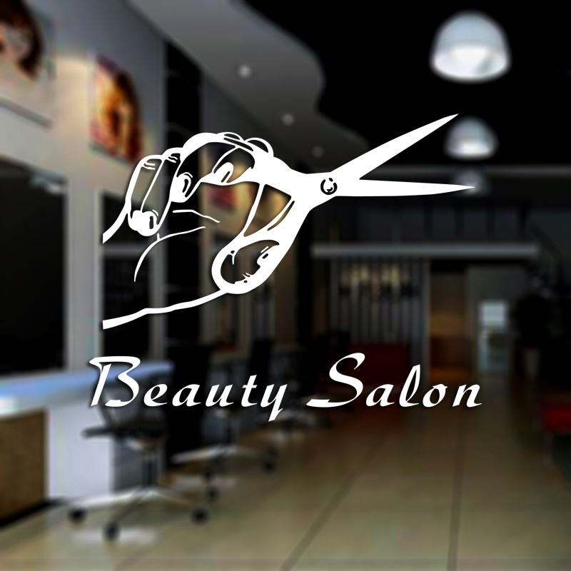 DCTAL Hair Salon Decal Barber Shop Sticker Name Scissors Neutral Haircut Poster Vinyl Wall Art Decals Decor Windows Decoration