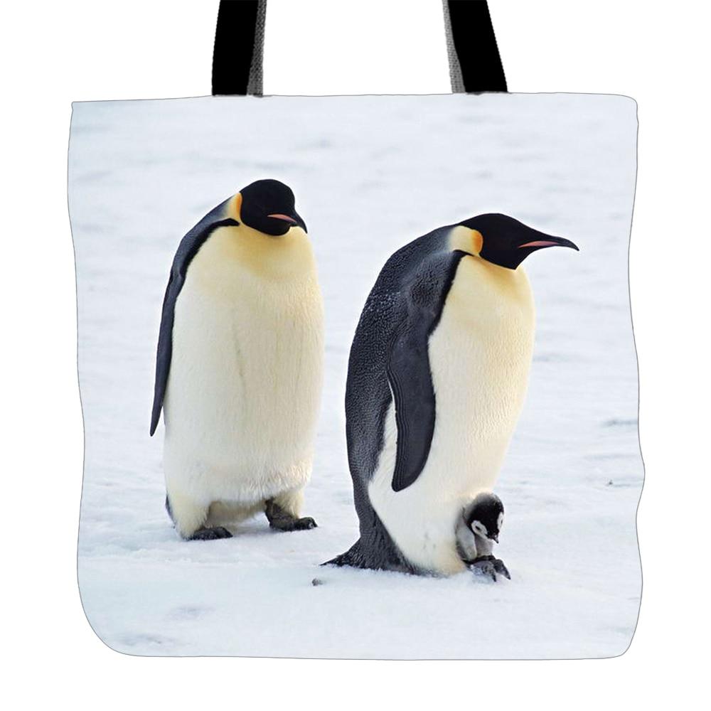 Stdpet08 Aniamls Stampa Cielo retro Lo Tote Fronte A brown Bag Carino Viaggi stdqe001 Bianco Pinguini Tela azzurro Shopping Con Per blu Usato Di Scuola Mano Sacchetti p5qExR