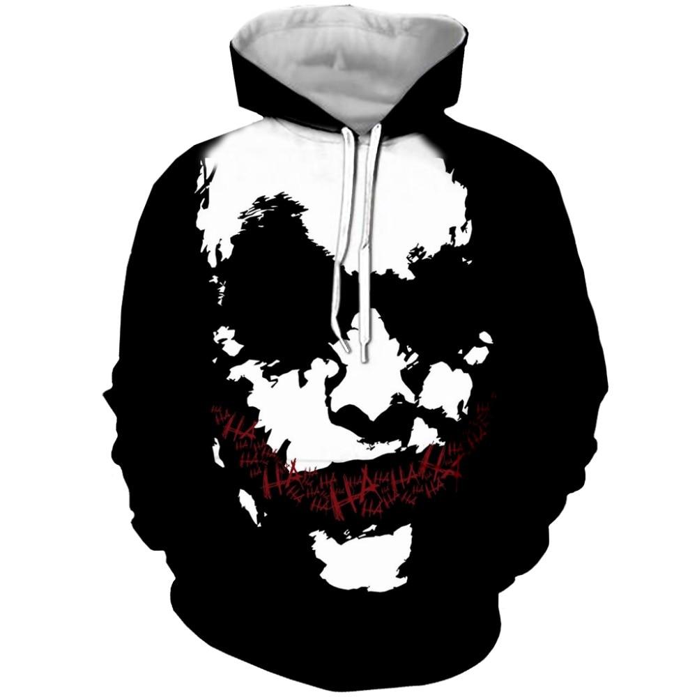 Anime Hoodies Men Halloween 3d Sweatshirt Printed Suicide Squad Joker clown Quinn Hooded Pullover Big Pocket Sweats Hombre