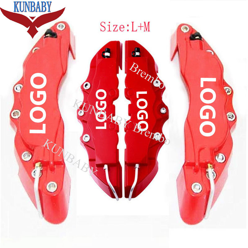 KUNBABY 4 Pcs ABS Plastic Red Car Auto 3D Word Style Disc Brake Caliper Covers Front And Rear Size M+L 2 pair universal car 3d style disc brake caliper covers front rear