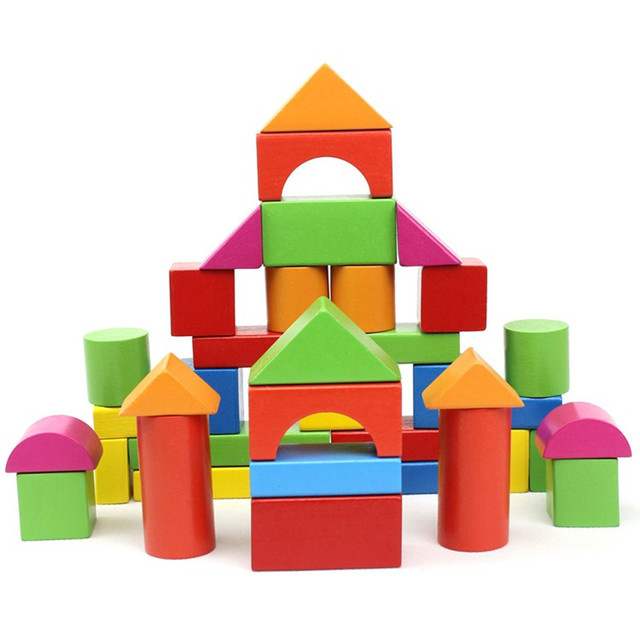 40pcs/lot Wooden Baby Building Blocks Colorful Geometric Assembled Building Blocks Early Childhood Educational Wooden Toys JM53