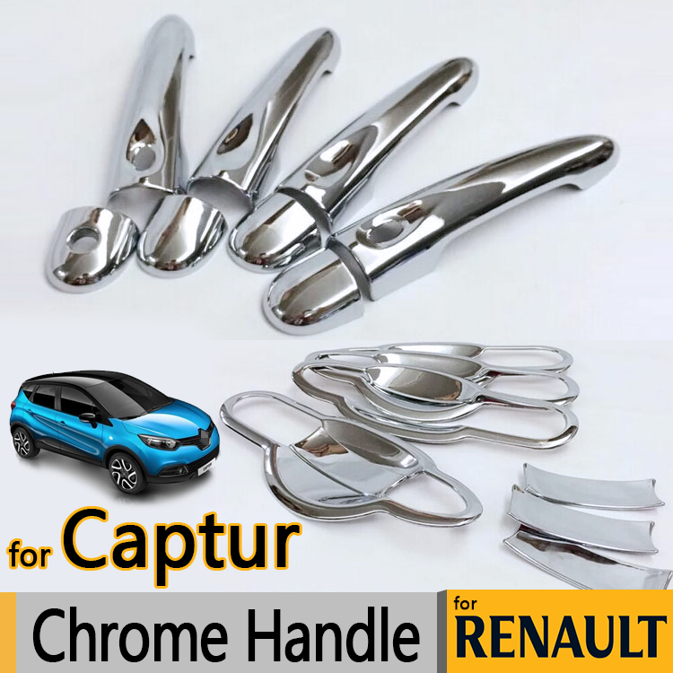 For Renault Captur Luxurious Chrome Door Handle Covers Accessories Stickers Car Styling 2013 2014 2015 2016 2016 mini clubman one coopers side door power window switch center console panel covers accessories car stickers for f54 6 door page 7