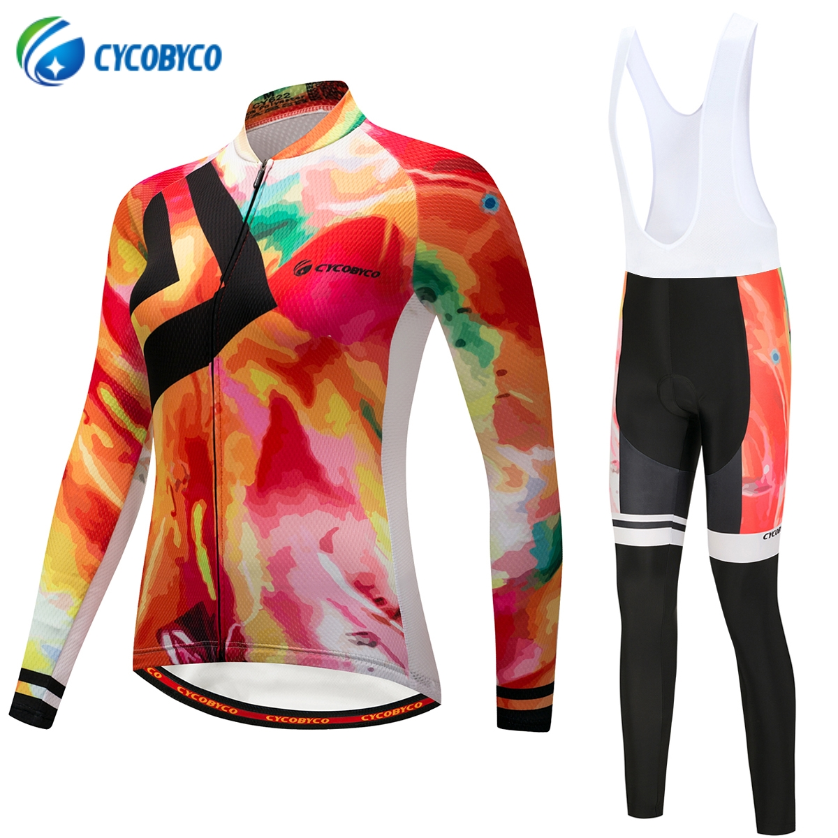 Cycobyco Autumn Colorful Women Cycling Jersey Set  Mountian Bike Wear Ropa  Ciclismo Cycling Bicycle Clothes Cycling Clothing f7dca2645