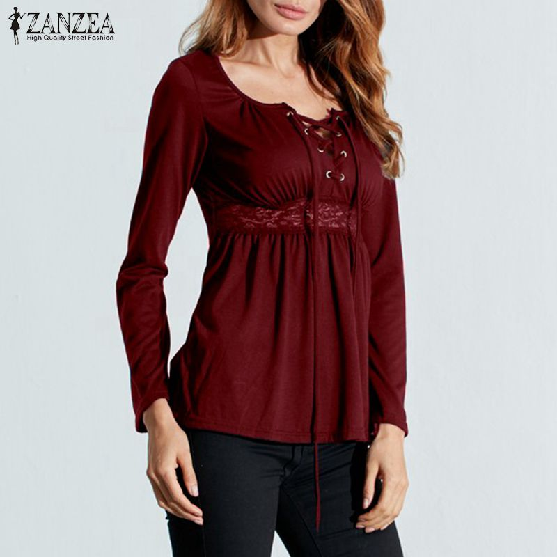 ZANZEA Women Tops 2018 Autumn Lace Patchwork Blouses Sexy V Neck Lace Up Shirts Long Sleeve Casual Slim Blusas Plus Size