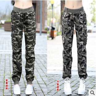 aa87714d521 Women Military elastic waist pants cotton jogging femme survetement camouflage  femme pantalon baggy calcas das mulheres