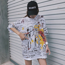 korean lattice big size long T Shirt fashion Summer casual loose Harajuku tops tee Black white stitching Street women T-shirts(China)