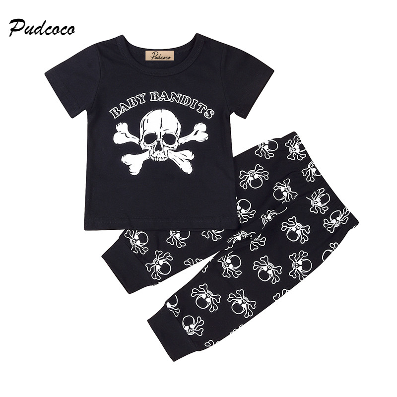 2PCS Newborn Baby Boy Girl Clothes Short Sleeve Skull Print Cotton T-shirt Tops+Long Pant Outfits Toddler Kid Clothing Set 0-24M newborn baby boy girl 5 pcs clothing set cotton cartoon monk tops pants bib hats infant clothes 0 3 months hight quality
