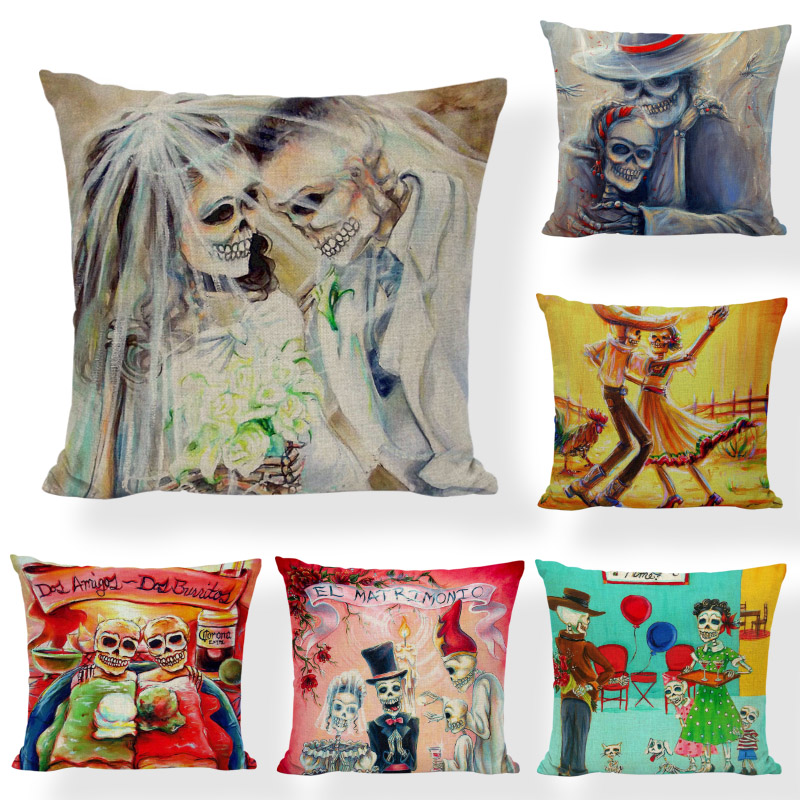 d03188274d830 ᗔ Online Wholesale skull mexican pillow case and get free shipping ...