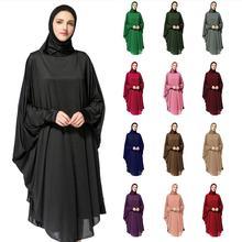 라마단 긴 Khimar Hijab 베일 스카프 이슬람기도 Abaya Jilbab 여성 오버 헤드 중동 Workship Batwing 슬리브 드레스 옷