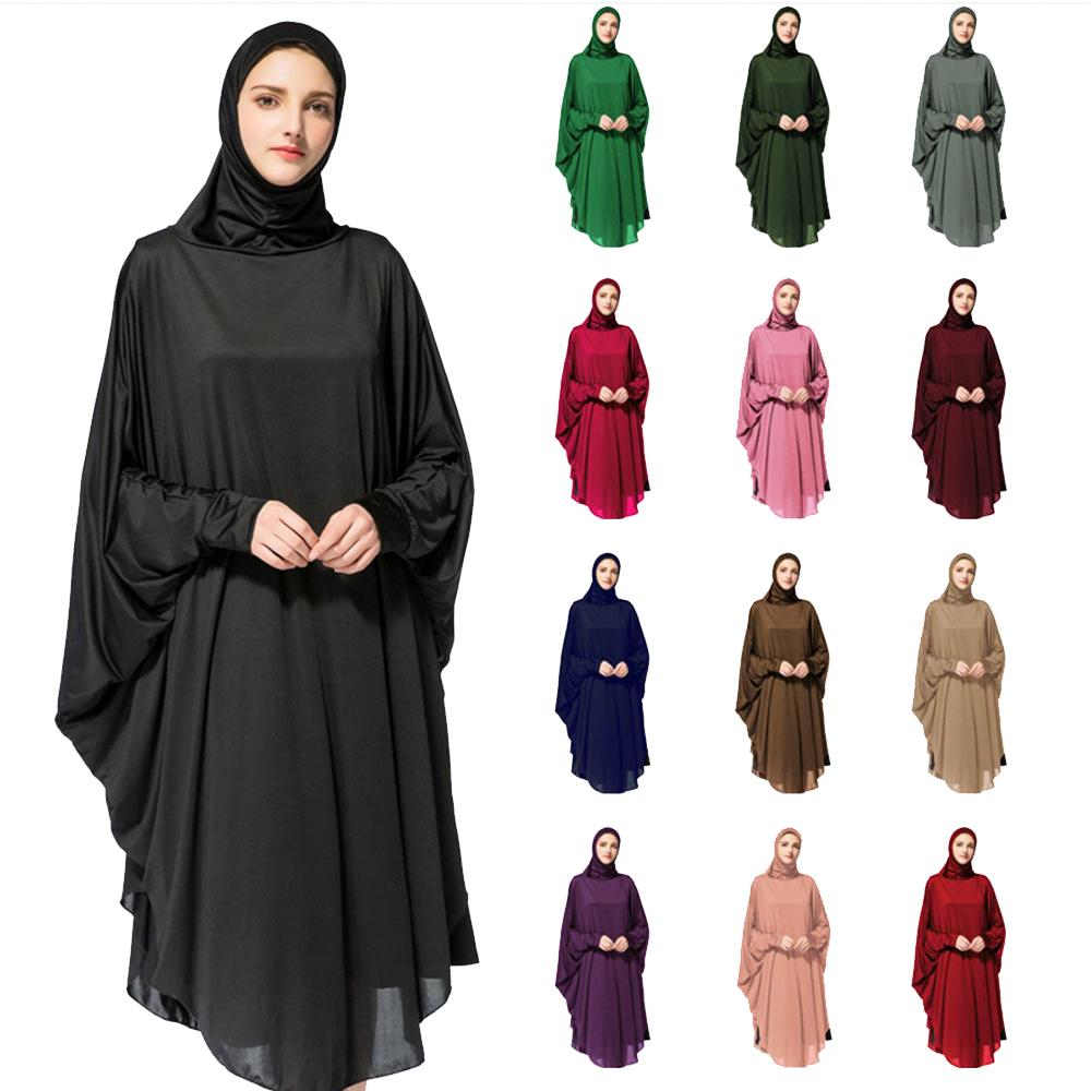 Ramadan Long Khimar Hijab Veil Scarf Hip Muslim Amira Prayer Abaya Jilbab Women Overhead Middle East Workship Batwing Sleeve Dress Arab