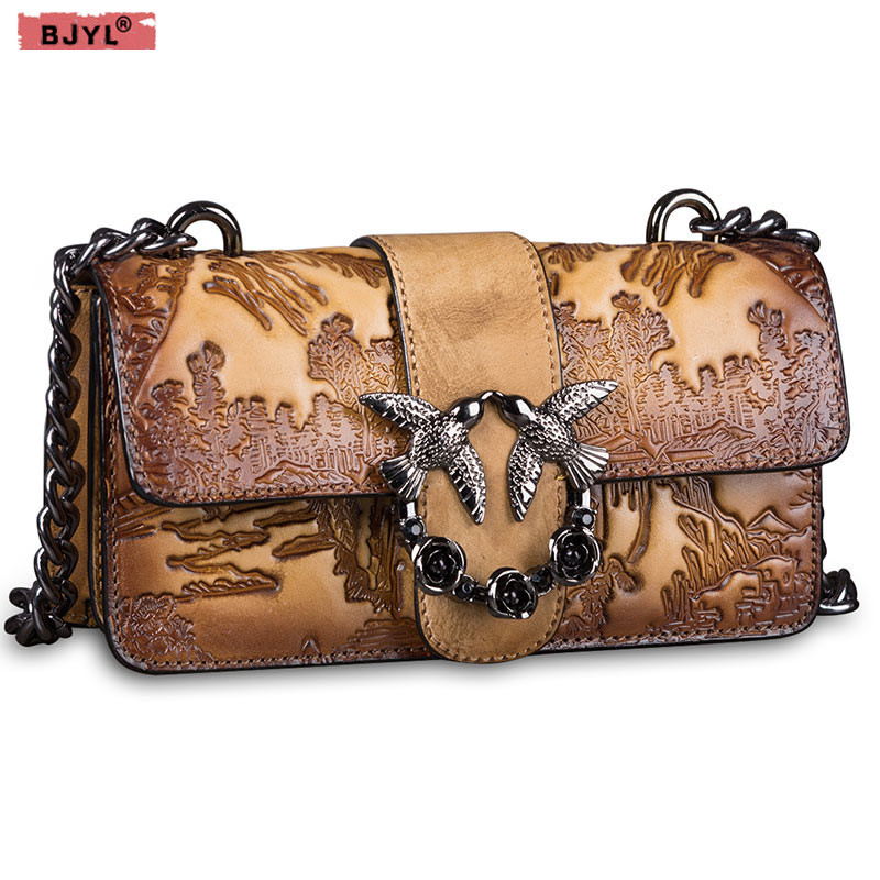 BJYL New Retro women bag wine god swallow cowhide Genuine leather Clutch small Shoulder Bag female Chain Messenger crossbody Bag new brand genuine leather women bag fashion retro stitching serpentine quality women shoulder messenger cowhide tassel small bag