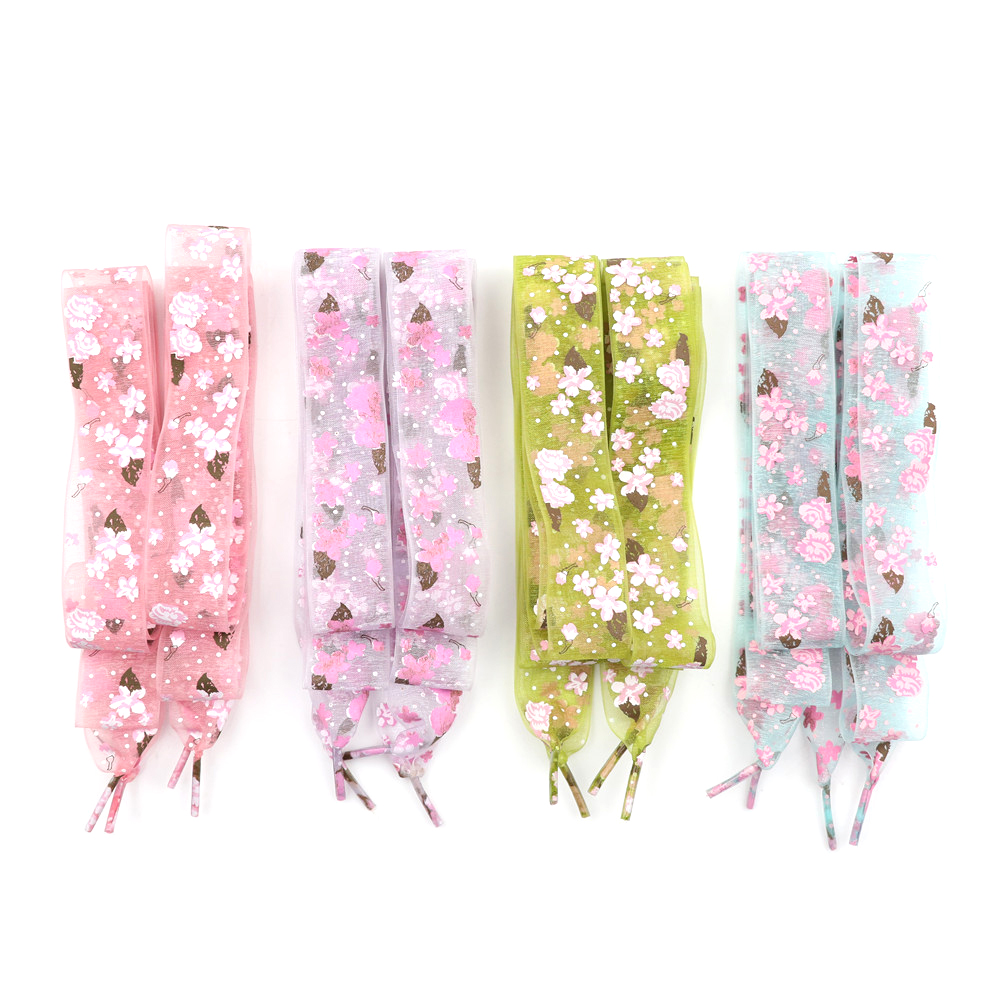 1 Pair Snowflake Yarn Flat Satin Silk Ribbon Shoelaces Shoe Laces Sneaker Strings Sneaker Sport Shoes Lace 4Colors cotton mulberry soft satin yarn dyed silk yarn satin sateen ultra sensitive silk cloth shirt dress materials a yard h760