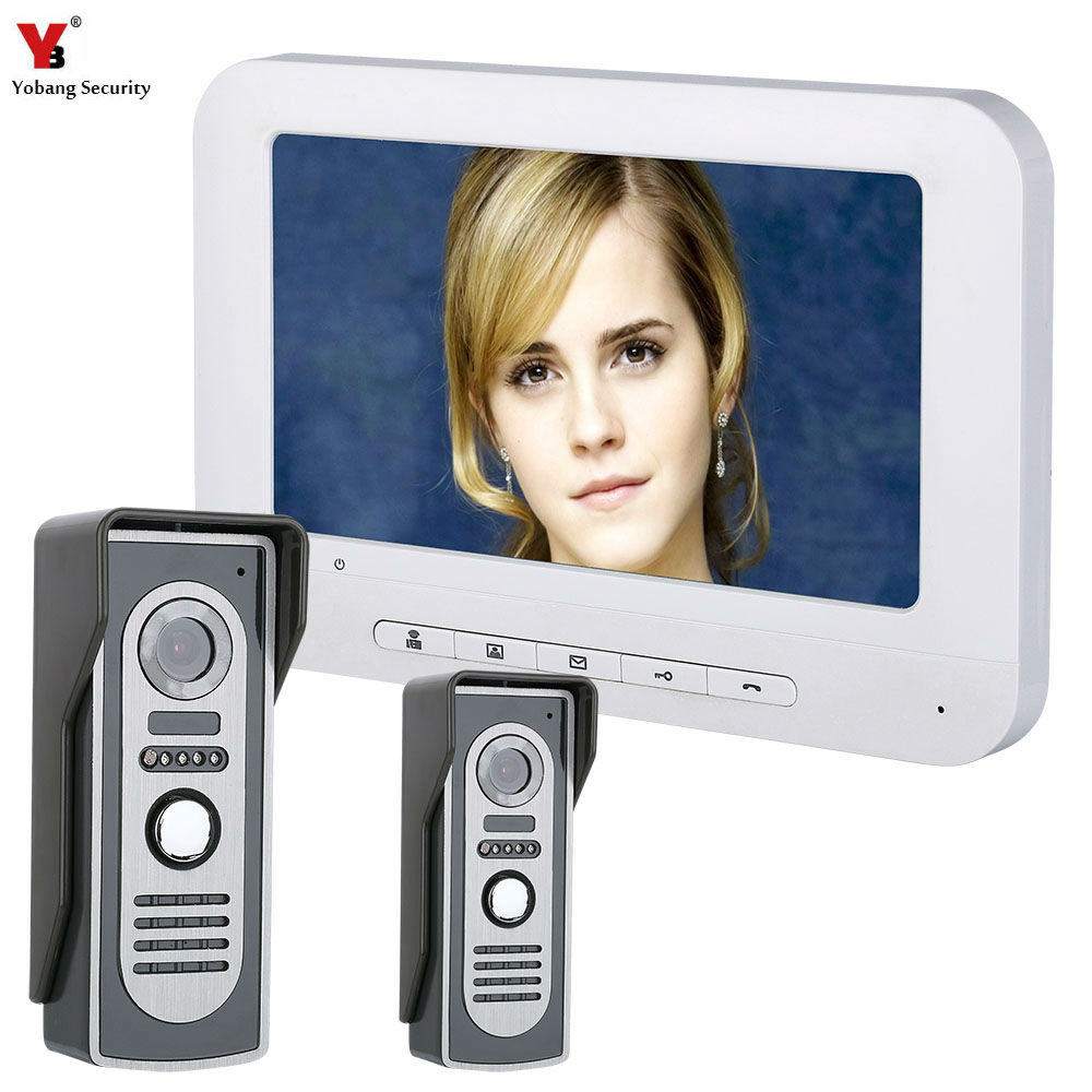 Yobang Security 7 Inch TFT Video Door Phone Doorbell Intercom Kit 2-camera 1-monitor Night Vision hot sale tft monitor lcd color 7 inch video door phone doorbell home security door intercom with night vision